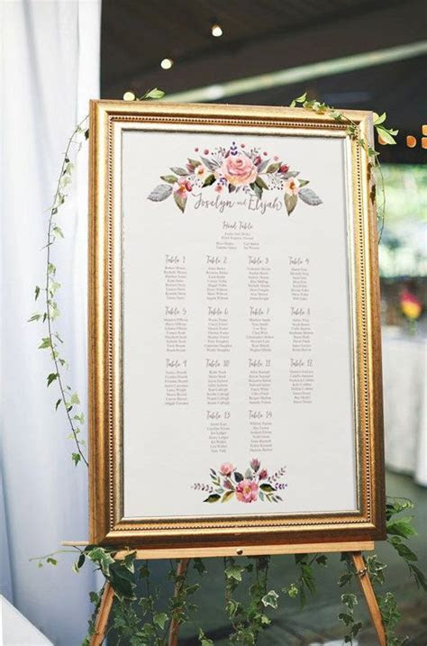 Floral wedding seating chart, printable seating chart