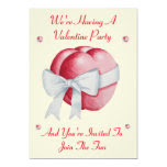 Romantic red heart with white bow valentine party 5x7 paper invitation card