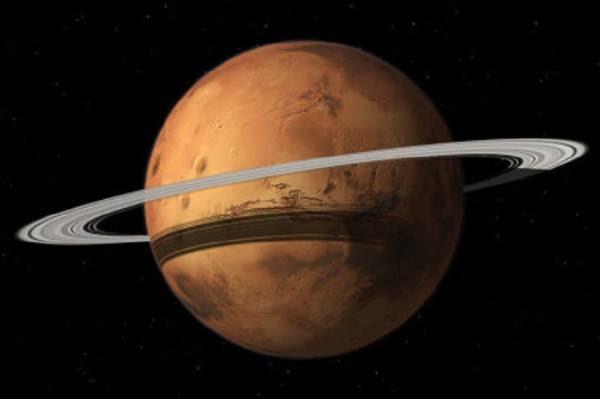 Rappresentazione artstica di Marte con l'anello formato dai detriti della sua luna più grande, Phobos (fonte: Tushar Mittal using Celestia 2001-2010, Celestia Development Team; Berkeley University)