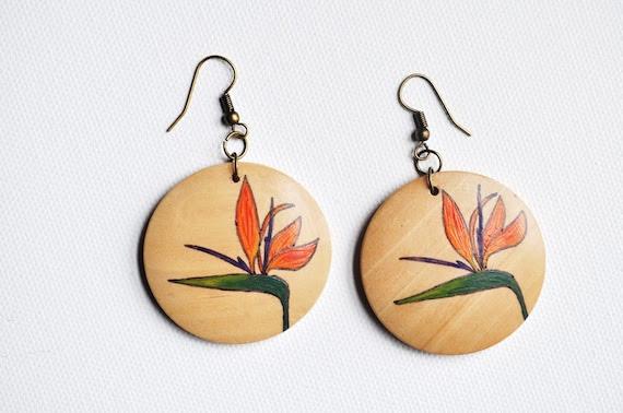 Beach series - Bird of Paradise Flowers- hand painted wood dangle earrings