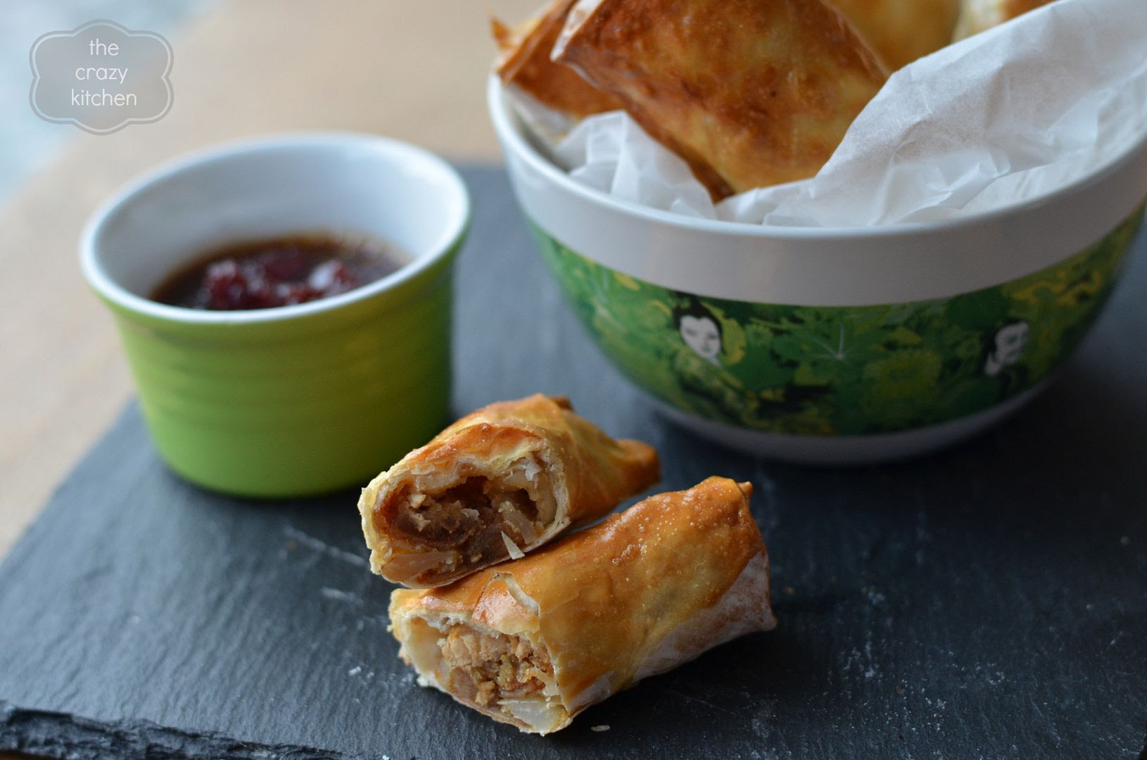 Turkey Spring Rolls with Cranberry Dipping Sauce