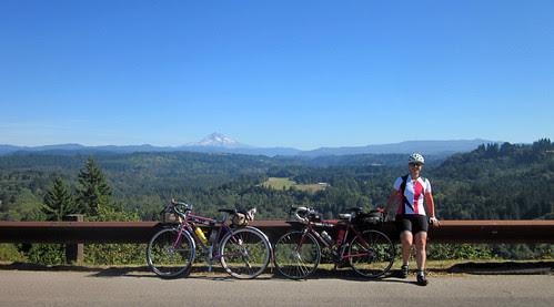 Susan, the bikes and Mt Hood