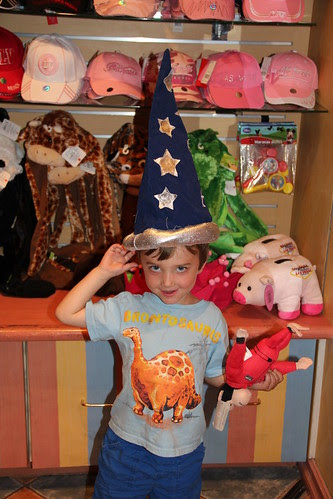 Olsen tries on Merlin hat