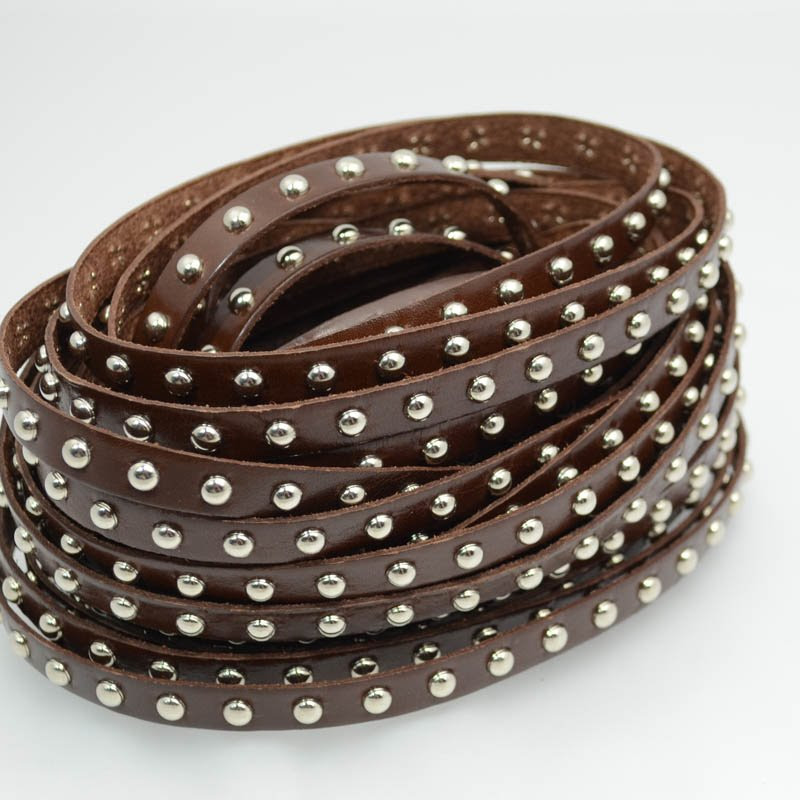 s39445 Stringing - 10 mm Medium Studs - Flat Leather - Silver / Brown (Inch)