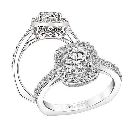 Glennpeter Jewelers: Love Story Halo Engagement Ring by