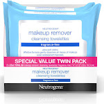 Neutrogena Makeup Remover, Fragrance-Free, Cleansing Towelettes, Special Value Twin Pack - 2 - 25 wipe packs [50 towelettes]