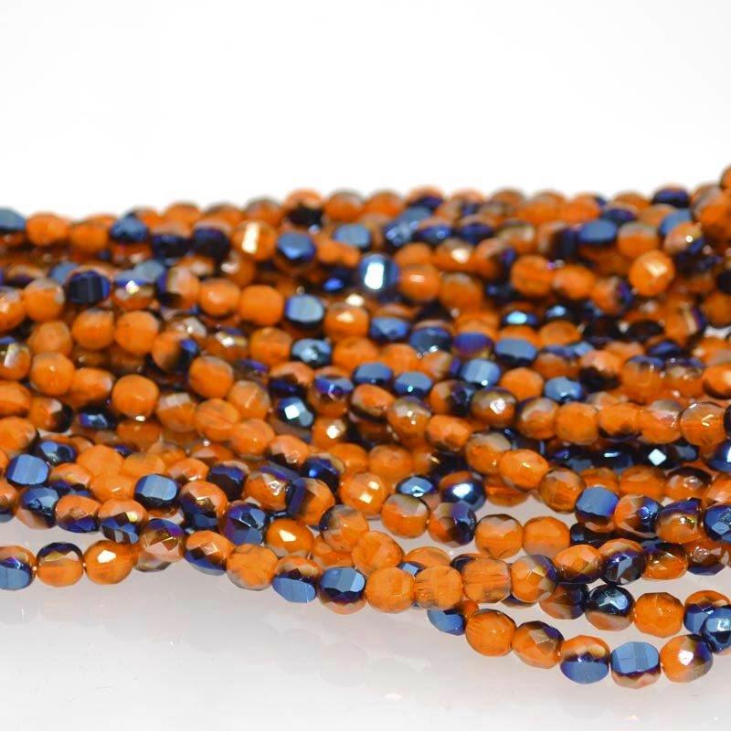 s37761 Firepolish - 6 mm TwoWay Cut - Tangerine Azuro (strand 25)