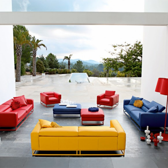 Luxury Colorful Living Room Furniture Set In Yellow Blue And Red