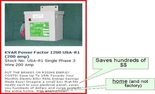 Power factor fraud ad