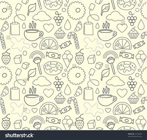 Sweet Food Seamless Texture Background Stock Vector