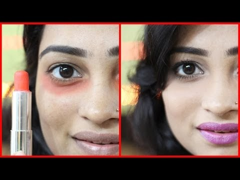 Amazing Trick: How to Cover Dark Under Eye Circles using ORANGE LIPSTICK