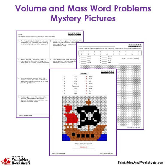 3rd Grade Volume and Mass Word Problems Coloring Worksheets  Printables  Worksheets