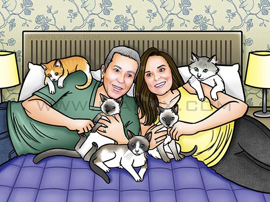 retrato de família, desenho personalizado de familia, retrato ilustrado, família com gatos, by ila fox