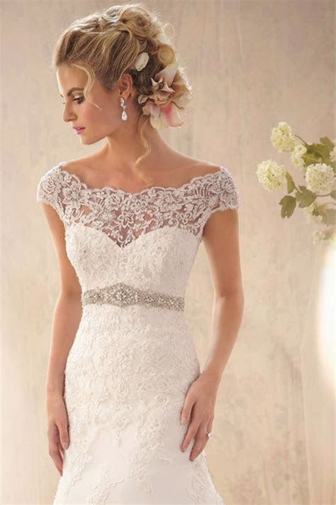 2014 Graceful Off The Shoulder Lace Bodice Beaded