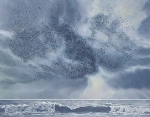 Katherine Kean, Quantum Entanglement, original oil painting, contemporary, gray blue, murmuration  phenomena, ocean, sky, wave,  flocking bird storm, ethereal, two  piece modular, large, marine
