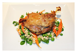 Braised Muscovy duck leg with couscous 300 pixels w border