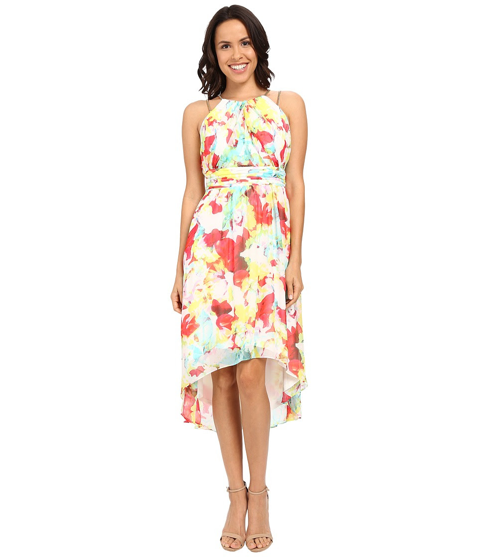 Sangria - Floral Print Chain Strap High-Low Dress w\/ Ruched Waist (Multi) Women's Dress