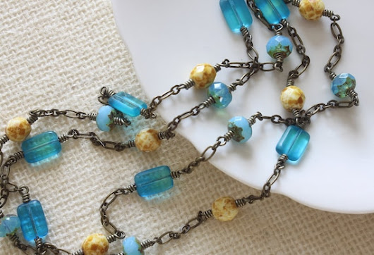 Long Necklace Czech Glass Beads Summer Necklace Beach