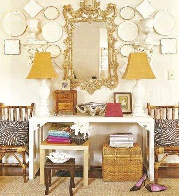 Gina Kates: My Home Ideas - Zebra pillows, console, ornate rococo mirror, white console table, ...