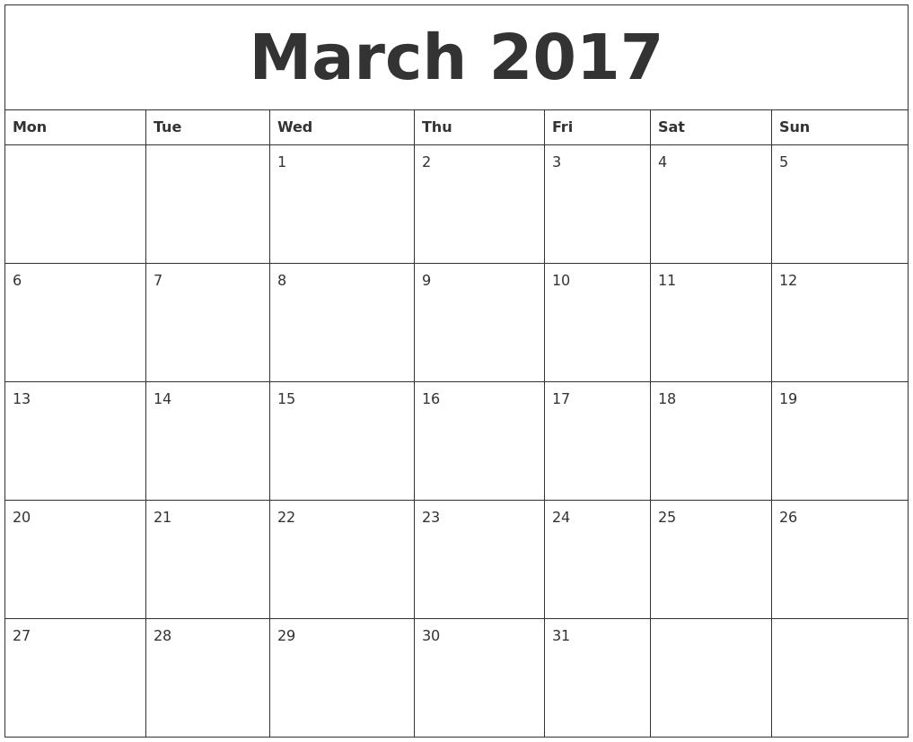 march 2017 free online calendar monday start