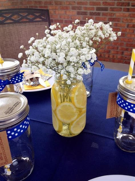 Yellow and Navy Bridal Shower Brunch Centerpiece   Our