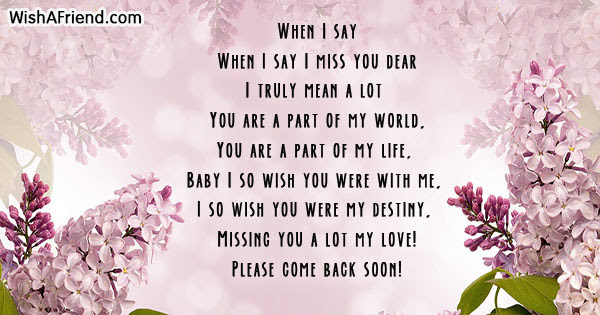 When I Say Missing You Poem For Girlfriend
