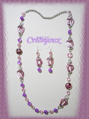 collana viola rosa chainmaille