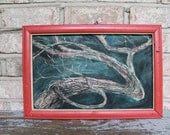 Vintage tree painting framed wall hanging handmade art - carouselandfolk