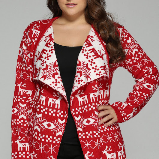 Plus Size Christmas Jacquard Cardigan, RED, XL in Plus Size Tops | DressLily.com