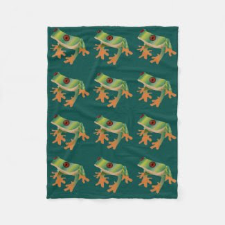 Tree Frog Pattern on Green Background Fleece Blanket