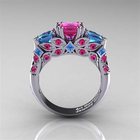 Classic 14K White Gold Three Stone Princess Pink Sapphire
