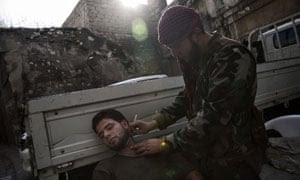 Syrian rebel fighters in Aleppo