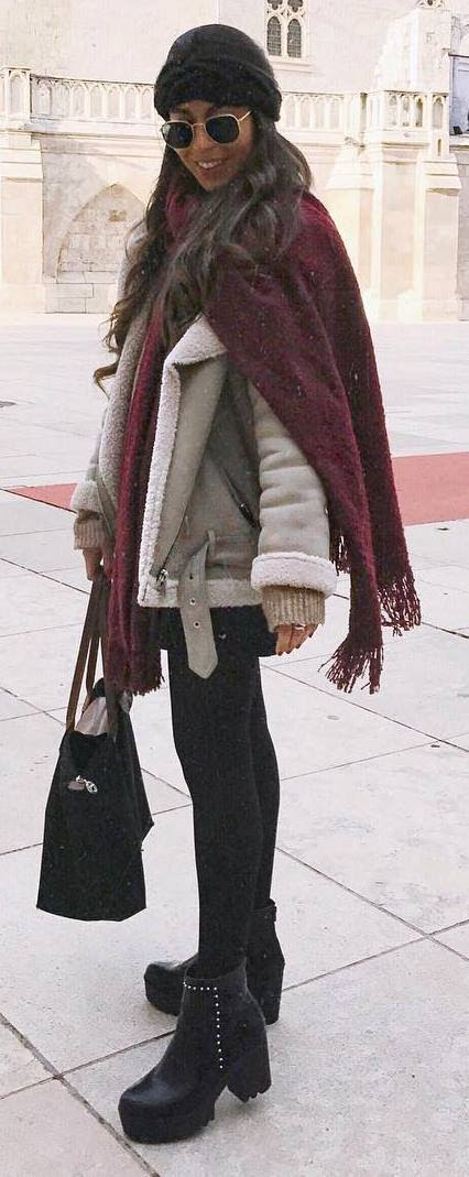 how to style a nude oversized jacket : maroon scarf + bag + sweater + boots + skirt