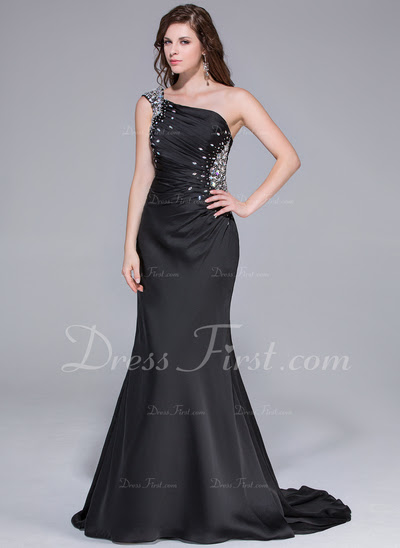 Mermaid One-Shoulder Watteau Train Chiffon Prom Dress With Ruffle Beading (018025651)
