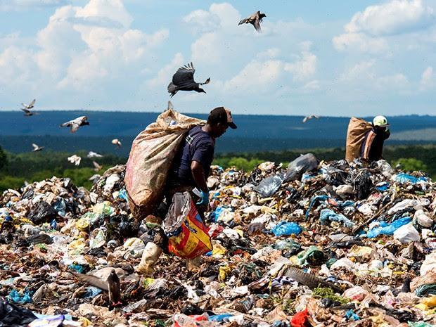 Disputa entre catador, moscas e urubus  são comuns na área do Lixão. (Foto: Paula Fróes)