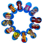BestPysanky 12 Blue Plastic Easter Eggs with Premium Candy