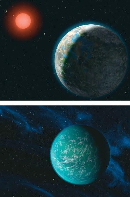 NOVOS MUNDOS Ilustrações dos planetas Zarmina (no alto) e Kepler 22b. Eles poderiam abrigar vida, pois ficam na zona habitável de seus sistemas solares, a 600 anos-luz e 22 anos-luz daTerra, respectivamente. São mundos distantes (Foto: Lynette Cook e NASA/Ames/JPL-Caltech)