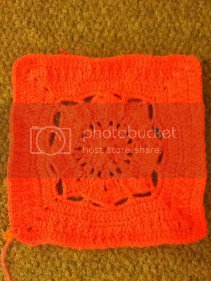 """Crocheted this square today. It's supposed to be 12"""" but is more like 10"""". This is a really bright pink.  It doesn't look it on my computer. photo 184644_10200420425462796_760881666_n.jpg"""