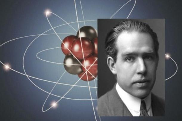 Right: Niels Bohr, ca. 1922 (AB Lagrelius & Westphal) Background: Illustration of an atom.