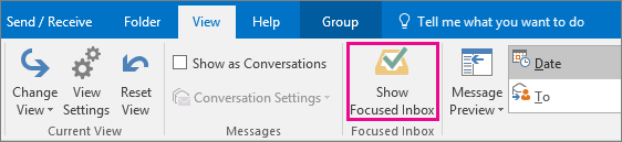 how to turn off focuses outlook