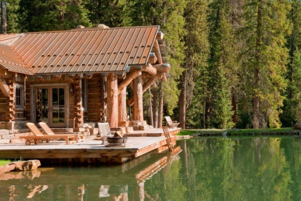 art lake bedroom landscape trees bed rustic architecture Interior ...