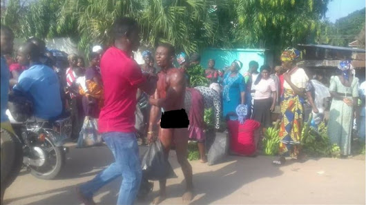 Photos: Electric Cable Thief In Imo Beaten, Stripped & Paraded Unclad