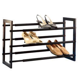 The Container Store > Walnut 3-Tier Grippy Shoe Rack