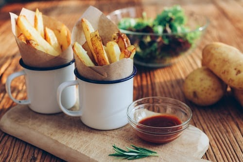Homemade vegetable and potato chips