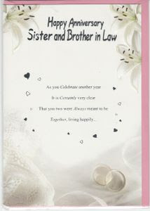 Anniversaries Sister And Brother In Law English Greeting Cards