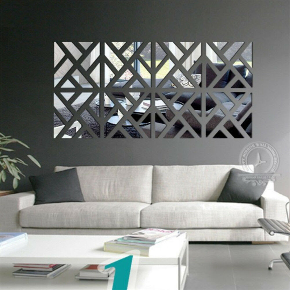 Novelty 3D Mirror Removable Wall Stickers Decal Sofa Living Room Decor DIY  eBay