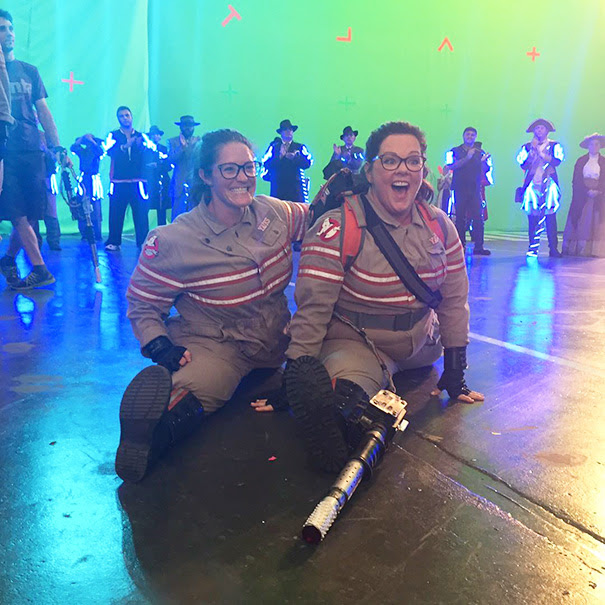 Melissamccarthy With Her Stunt Double Luci Romberg On The Set Of Ghostbusters