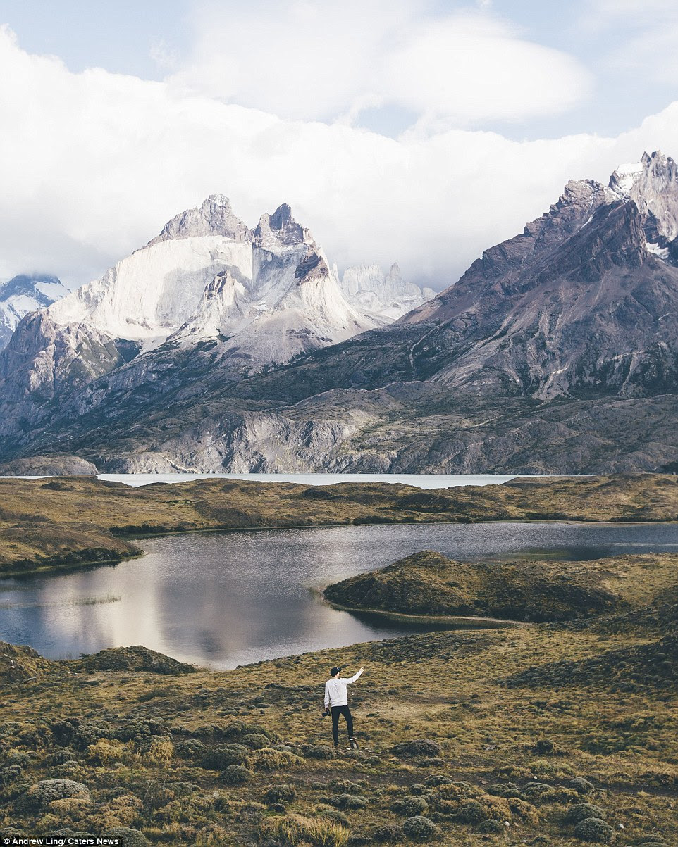 Ling said: 'I really wanted to capture these beautiful landscapes and share them with loved ones back home.' Pictured Torres del Paine National Park, Patagonia, Chile