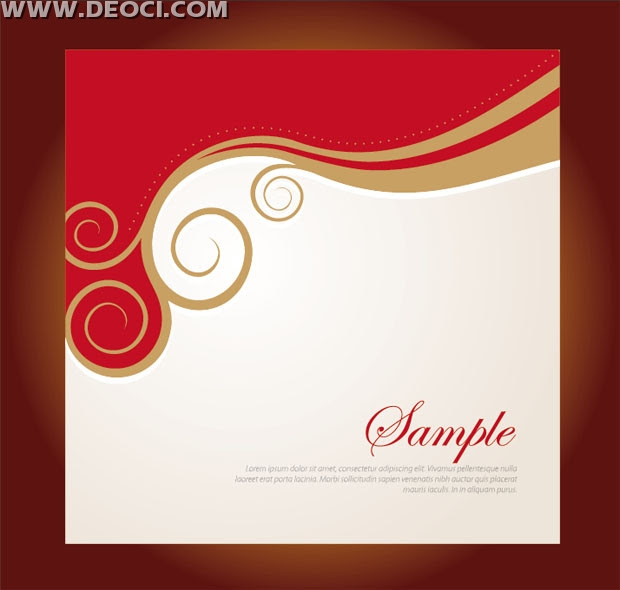 Vector Red Floral Background Design Company Album Cover Template Eps