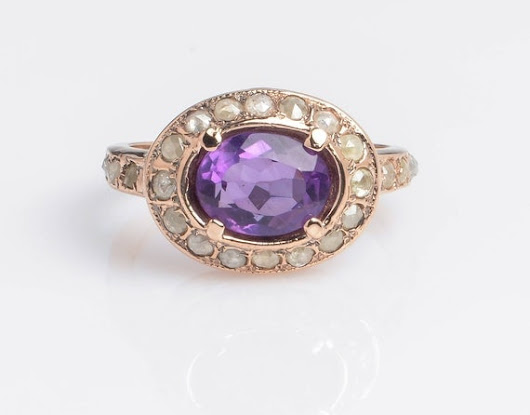 Royal Oval Ring set with Amethyst Stone in 14K Rose Gold